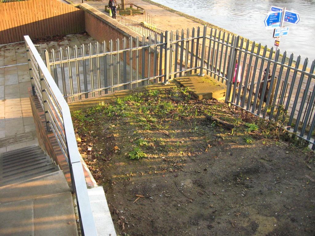 Future litter bin? Fenced off bit by Scarborough Bridge