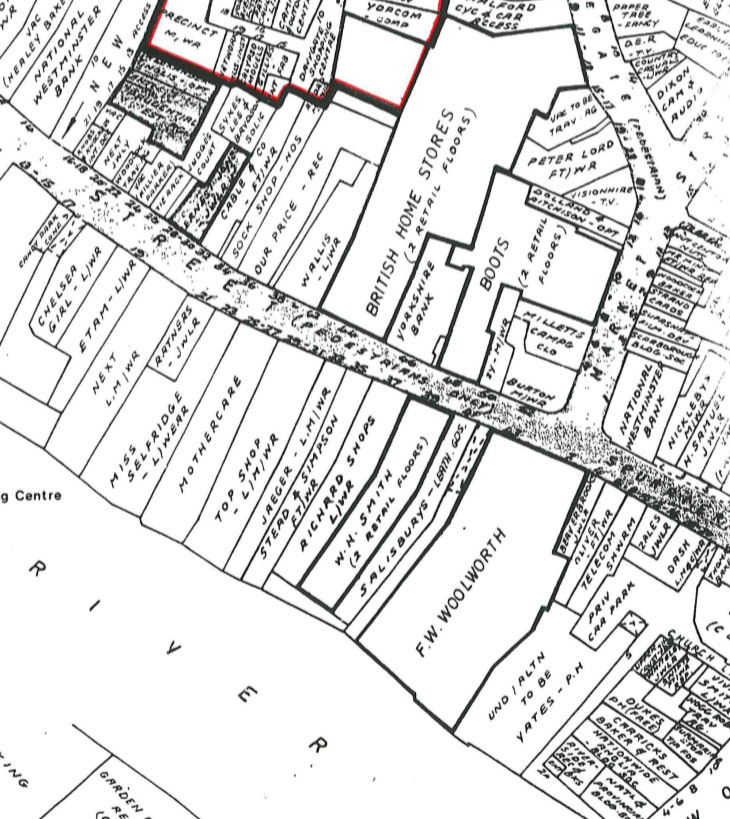 Plan showing occupiers of shops, banks etc