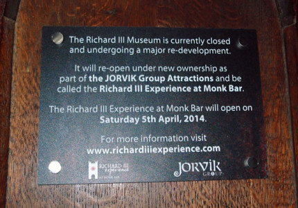 Sign: Richard III Experience, opening soon