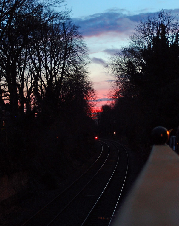 Solstice sunset over Scarborough line, 21 Dec 2014