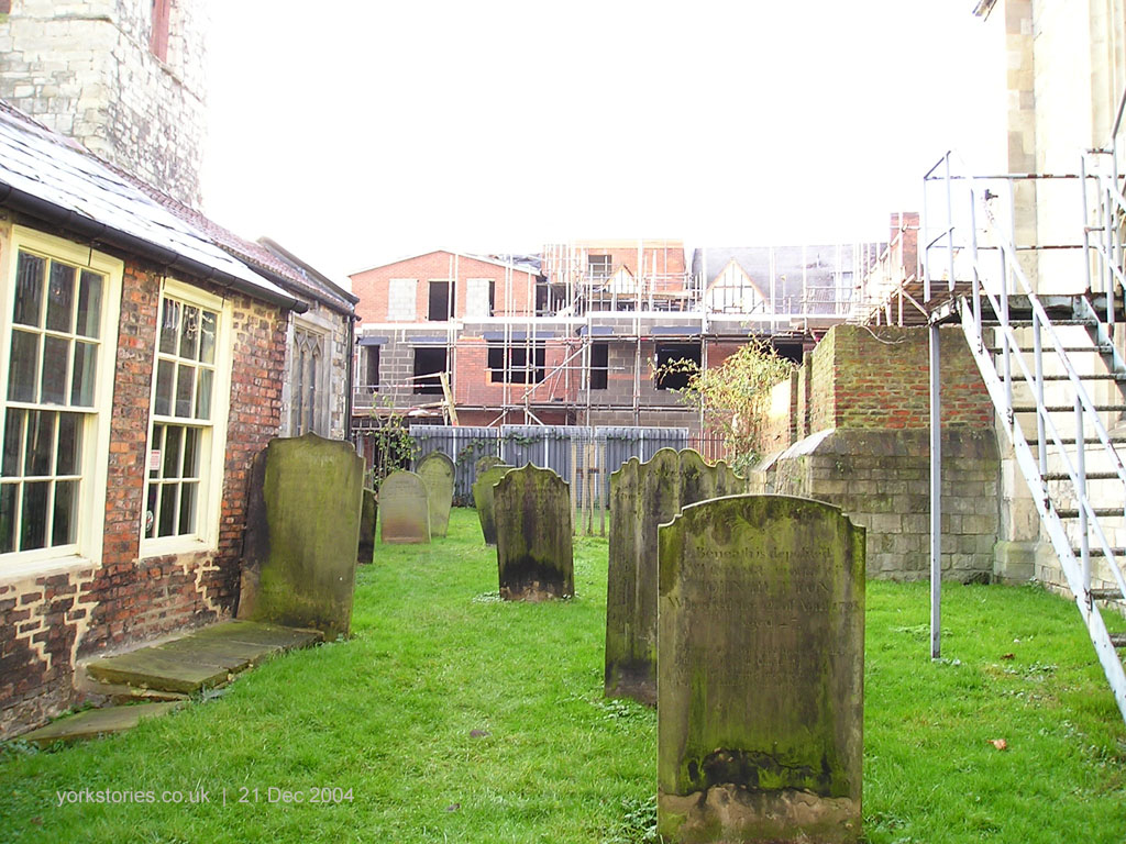 From Holy Trinity churchyard, redevelopment of buildings on Petergate
