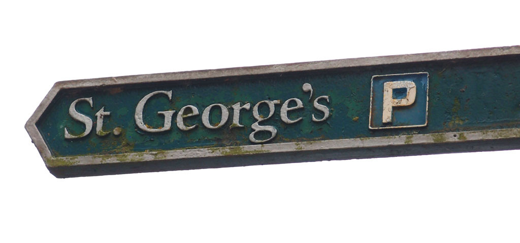 Signpost pointing to 'St George's' (car park)