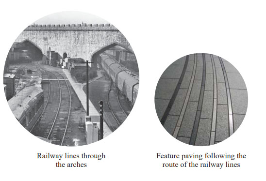Suggested feature paving following the route of the former railway lines, from the Design and Access statement (part 2)