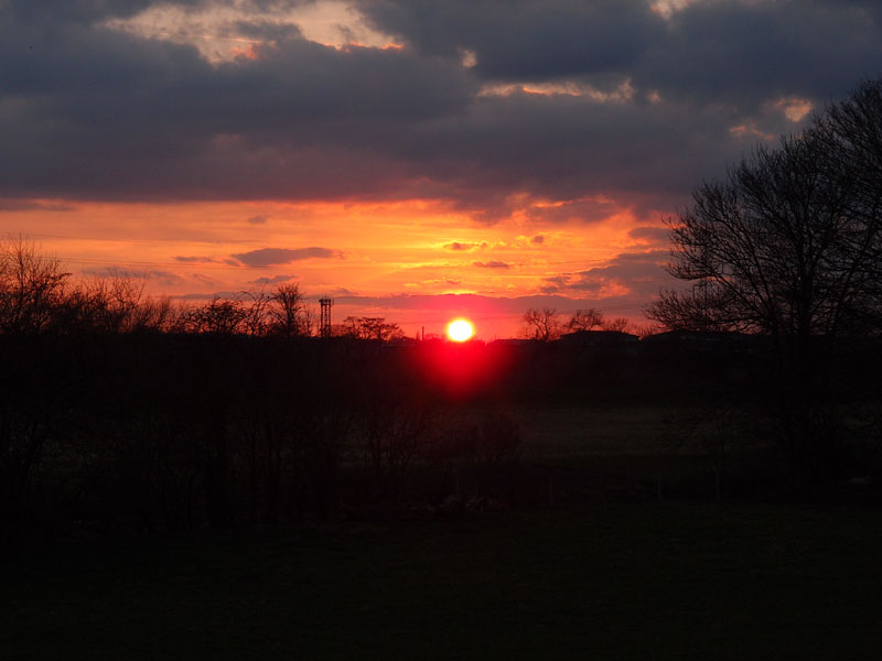 Sunset from Rawcliffe Meadows, 7.41pm, 7 April 2015