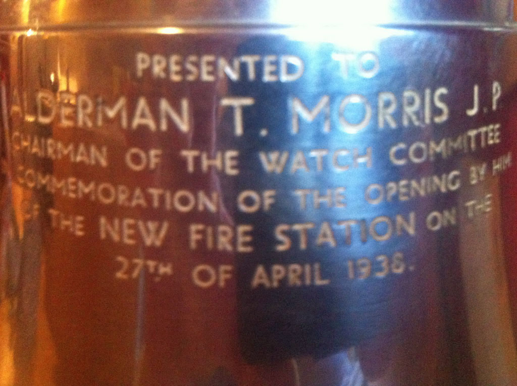 Inscription on 1930s fire engine bell