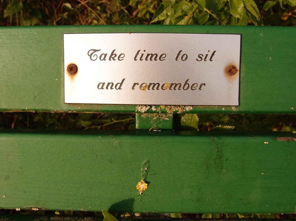 Take time ... bench, Rufforth cemetery, 6 Aug 2018