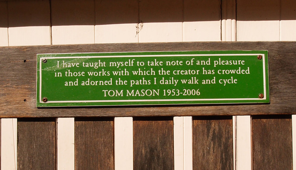 Memorial plaque on bench