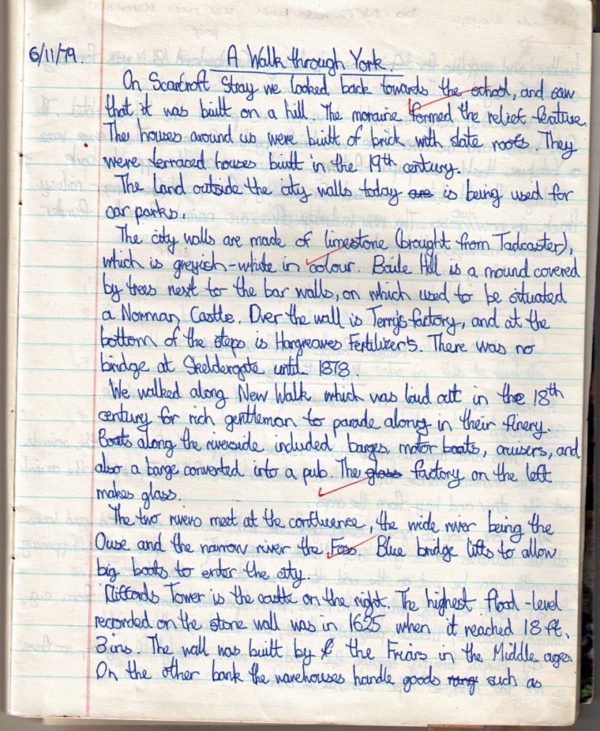 Handwriting, school exercise book