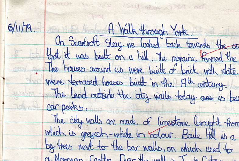 Handwriting, school exercise book