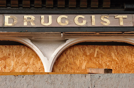 Painted lettering, old shop