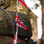 Bunting, Churchill Hotel gateposts