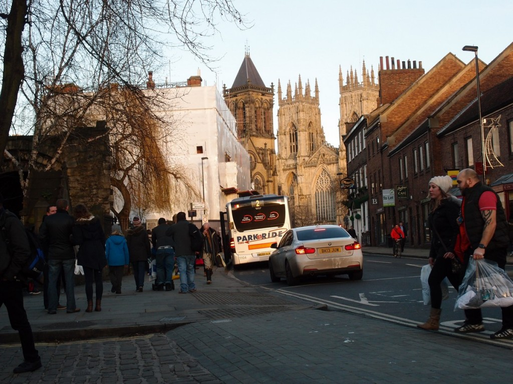View of traffic and Minster