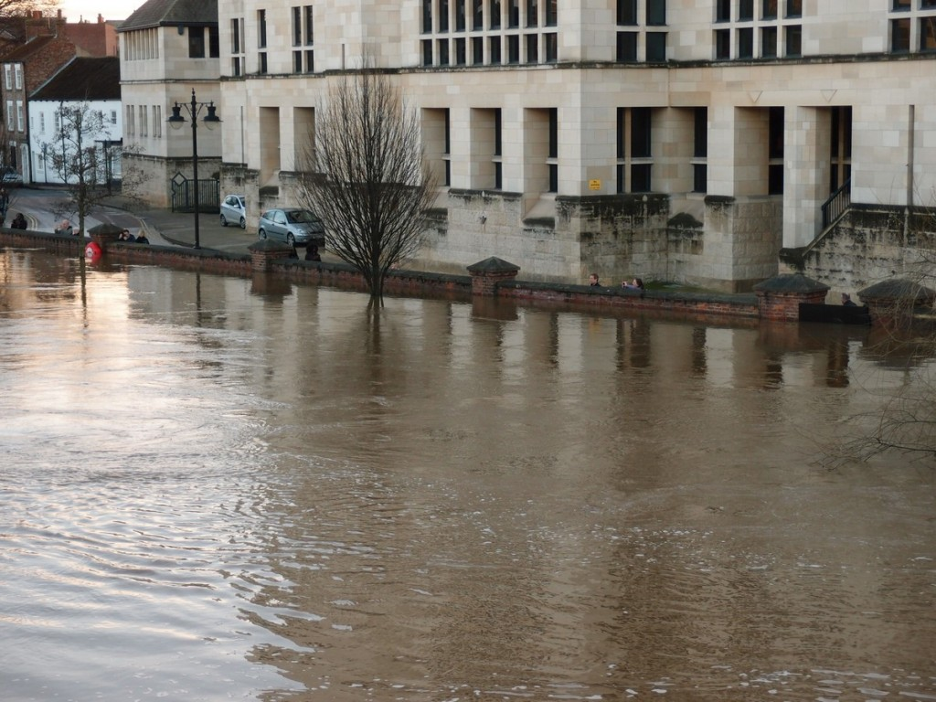 Flood water and buildings