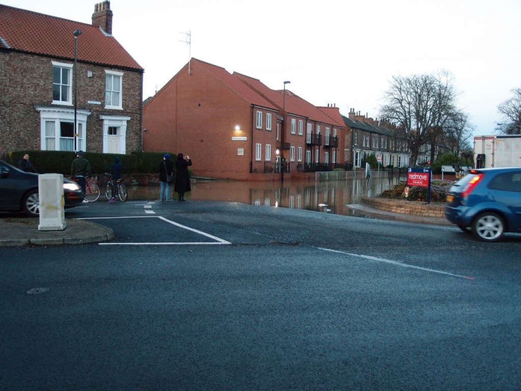Flood water on road