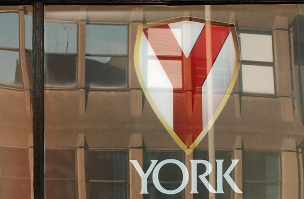 York ... (brewery) window, reflecting Hudson House, 24 Aug 2014