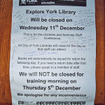 Sign on the library door