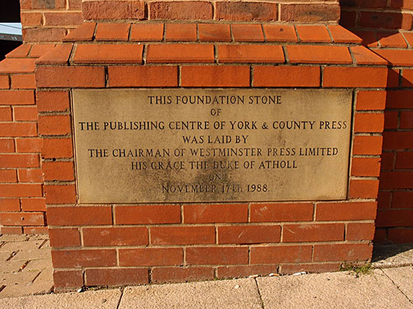 Foundation stone, Press offices, Walmgate, 3 June 2014